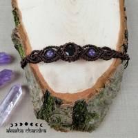 Amethyst Makramee Armband mit Edelsteinperlen Bild 2