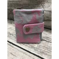 Geldbeutel Heimdal aus Tragetuchstoff Elefanten Rosa/Grau