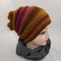 Mütze, Beanie, bunte, natürliche, frische weinrote, rote und braune Farbtöne Bild 1