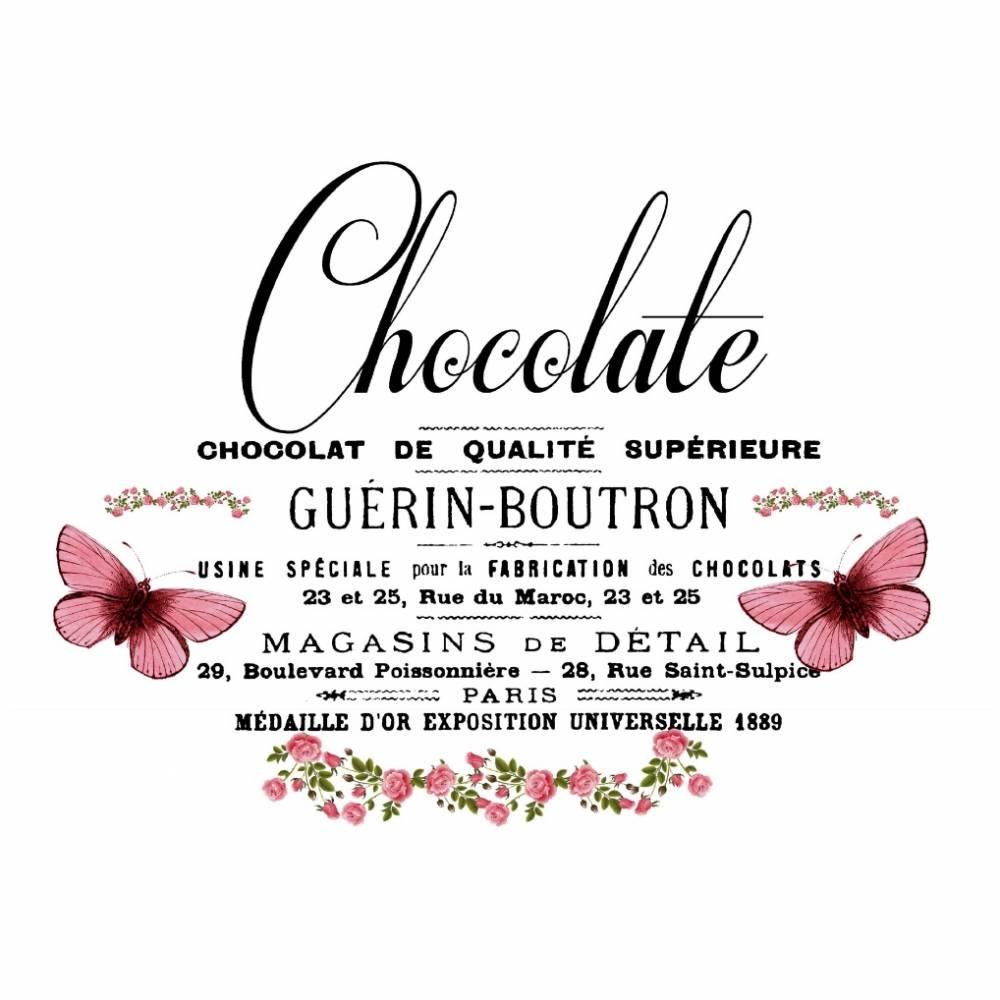 Potch-Motiv - Foto-Transfer - Vorlage - French - Chocolate - Schmetterlinig - Vintage - Shabby - 30006 Bild 1