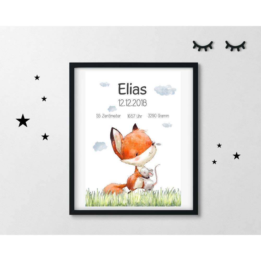 Geburtsdruck Geburtsanzeige Geburtsposter Fuchs Maus Waldtiere in DIN A4 Bild 1
