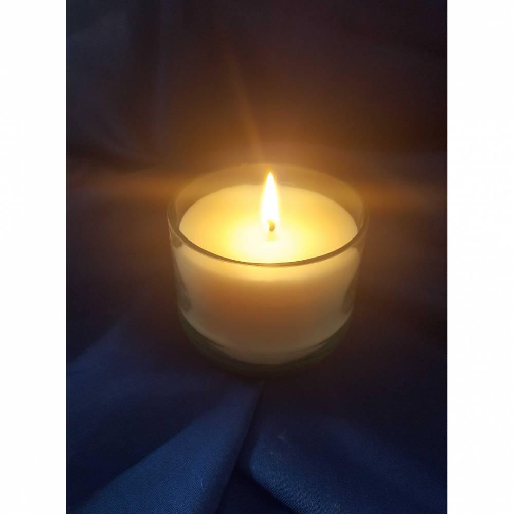 Rapswachs-Kerze im Glas vegan, ohne tierische Fette, Palmöl und Erdöl Bild 1