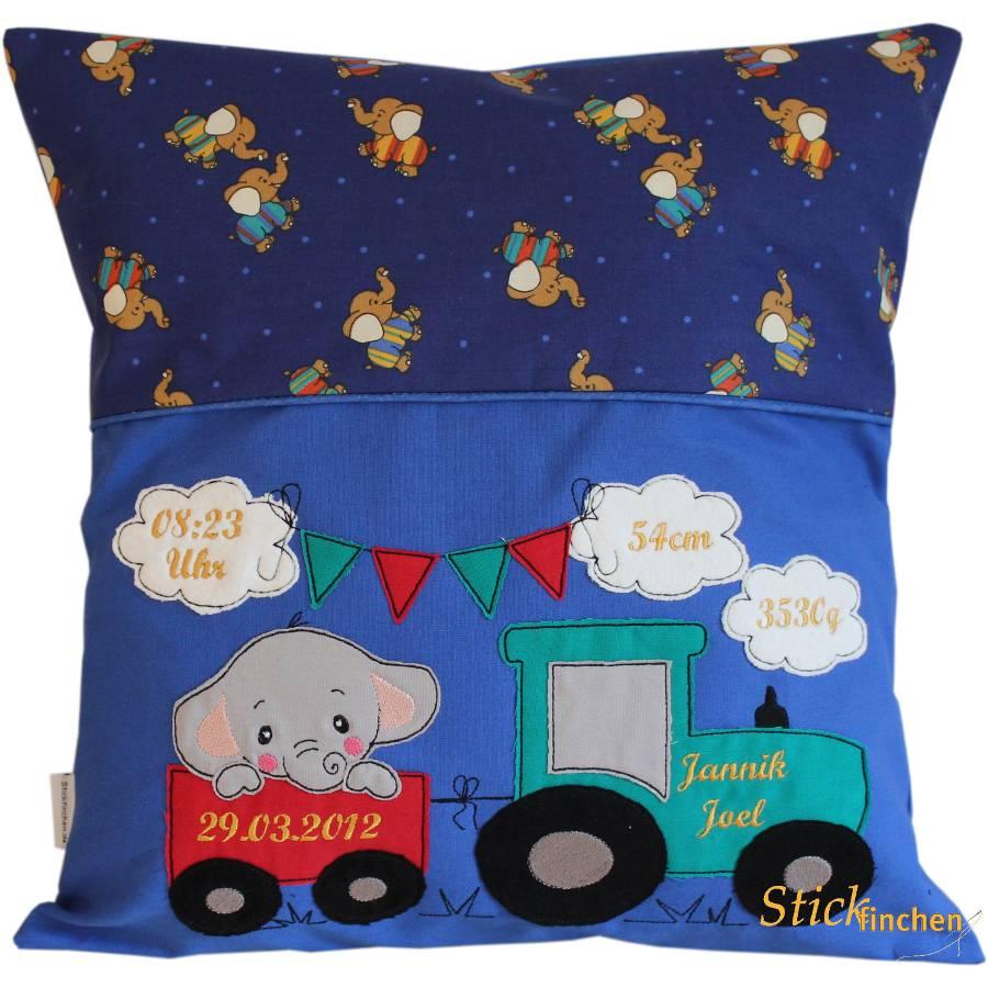 40x40 cm Geburtskissen personalisiert Baby Kissen für Kinder mit Trecker Traktor Elefant Sternenkindkissen Geburtsdaten mit Namen Geburt Bild 1