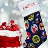Nikolausstiefel Nikolaussocke Nikolausstrumpf für Nikolaus Weihnachten mit Namen personalisiert / bestickt Medaillons Bild 1