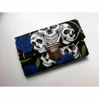 Portemonnaie, Geldbeutel, Geldbörse, Totenkopf, Skull, Rosen Blau Bild 1