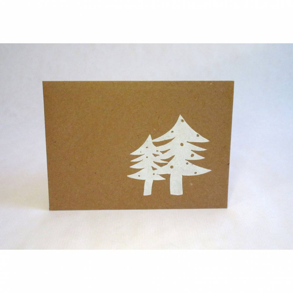 Briefumschlag Weihnachtsbäume, Linolstempel Bild 1