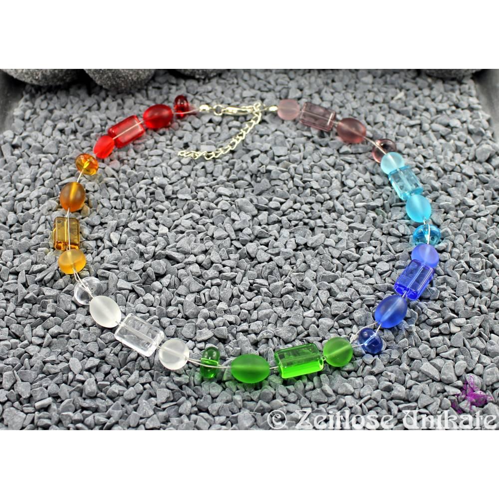 interessante Regenbogen Kette, wunderschöne Glasperlen matt und glänzend Bild 1