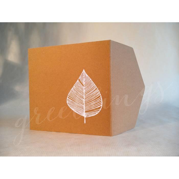 Taschenkarte / Gutscheinkarte Herbst-Blatt, Linolstempel Bild 1