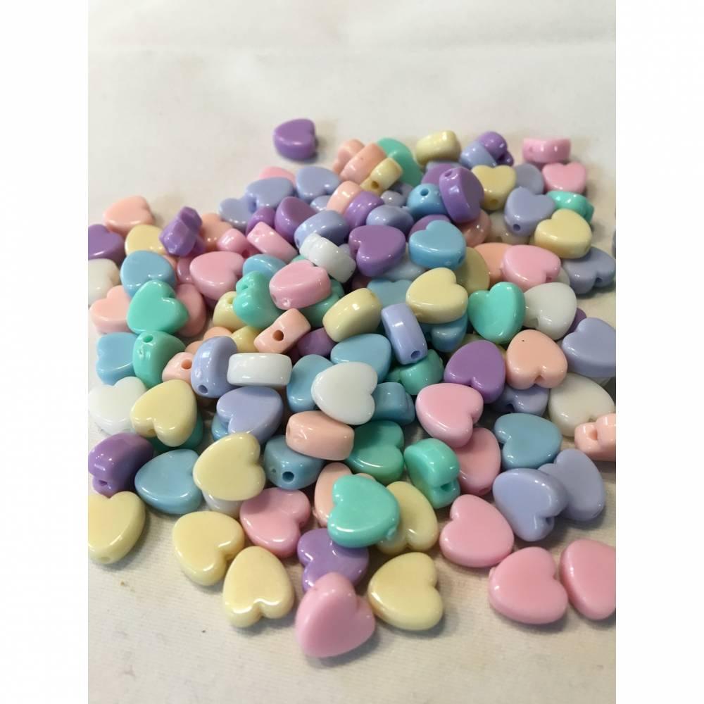 20 Stück, Herz Perlen, Kunststoff Bild 1