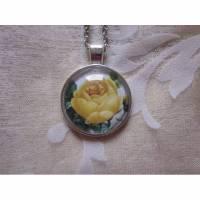 """Cabochon Anhänger Rose Gelb mit Kette """"Aveline"""" Halskette viktorianisch Vintage Stil  Bild 1"""