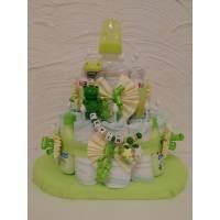 Windeltorte mit Schnullerkette Frosch personalisiert Bild 1