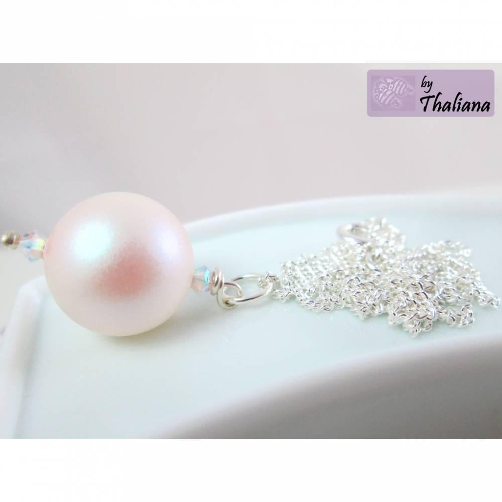 schimmernde Halskette perlLEUCHTEN weiß rosa  Bild 1