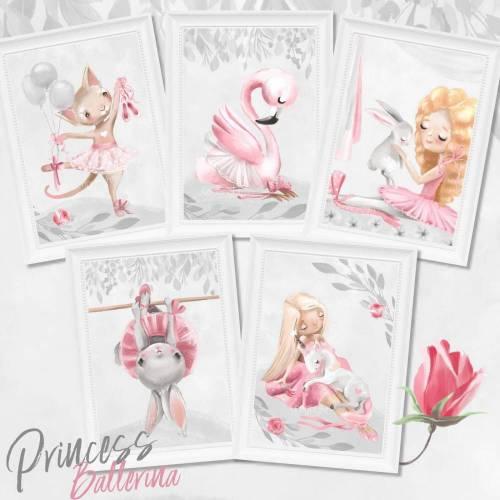 Mädchen Kinderzimmer Bilder Set & Geschenk Karte - Tiere Einhorn Prinzessin Ballerina Kunstdruck für A4 Bilderrahmen Pastell Rosa  | SET 40