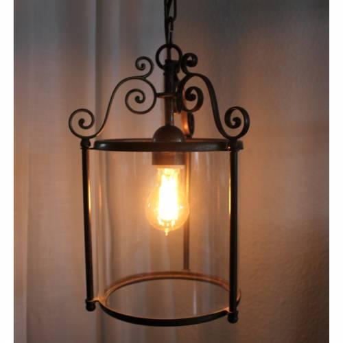 runde Deckenlampe, Hängelampe Glas und Messing
