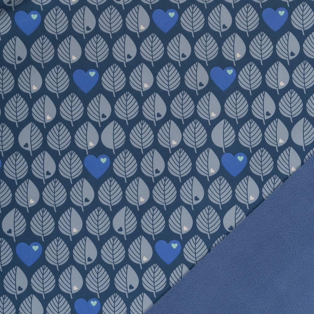 18,50EUR/m Softshell Blätter byGraziela blau Bild 1
