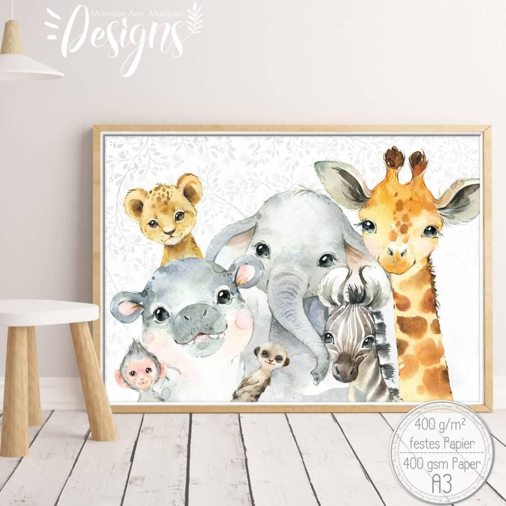 SAFARI Mix ~ A3 Kinderzimmer Poster Bilder Tiere Giraffe, Löwe, Elefant, Hippo, Zebra |S 44/P-SAFARI Bild 1