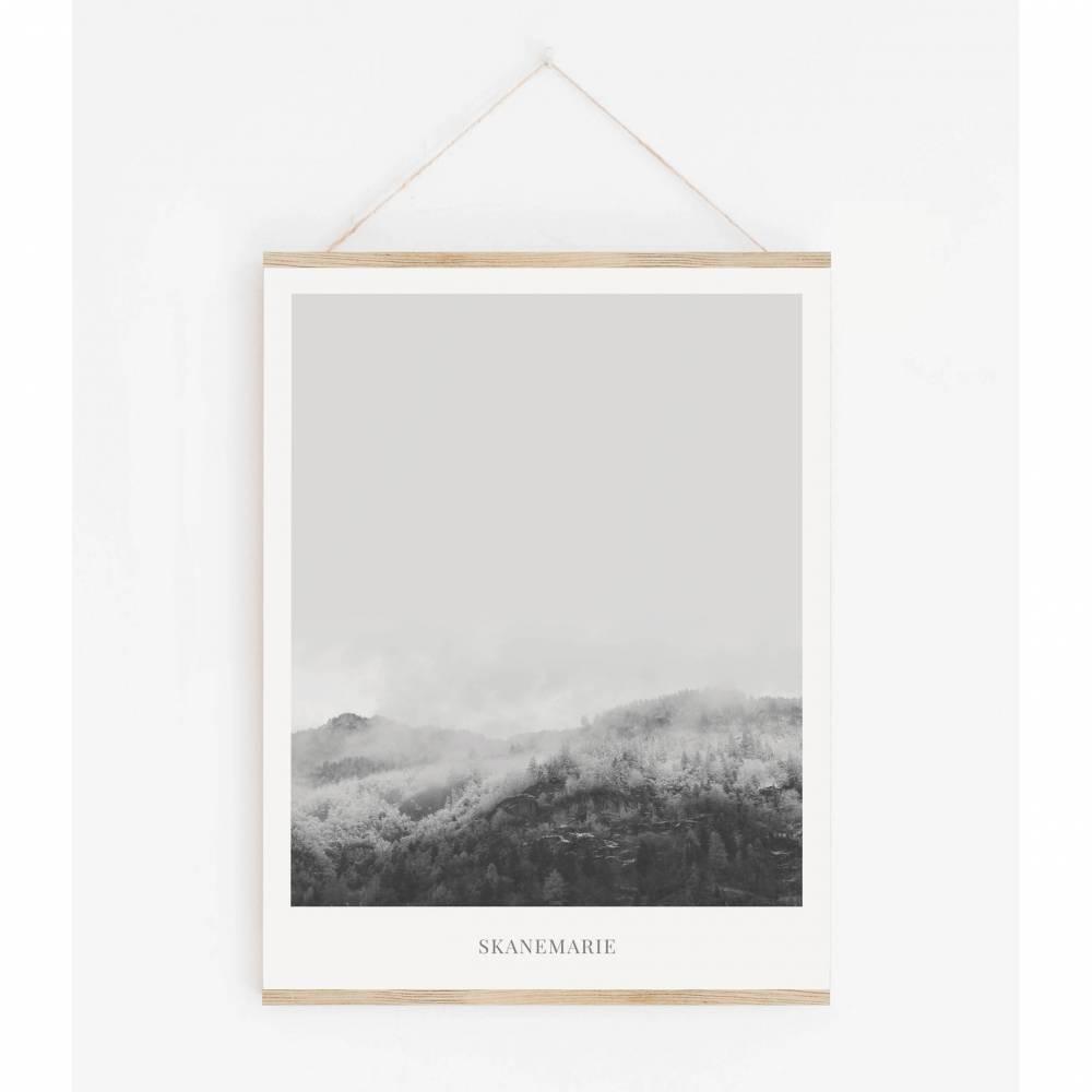 LANDSKAP NO. 1 | Landschaft Poster | Schwarz weiß Poster |  Wandbild Deko | Kunstdruck Geschenk | skandinavisches Design | minimalistisch Bild 1