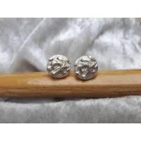 runde Silber-Ohrstecker mit floralem Muster aus 999 Silber Bild 1