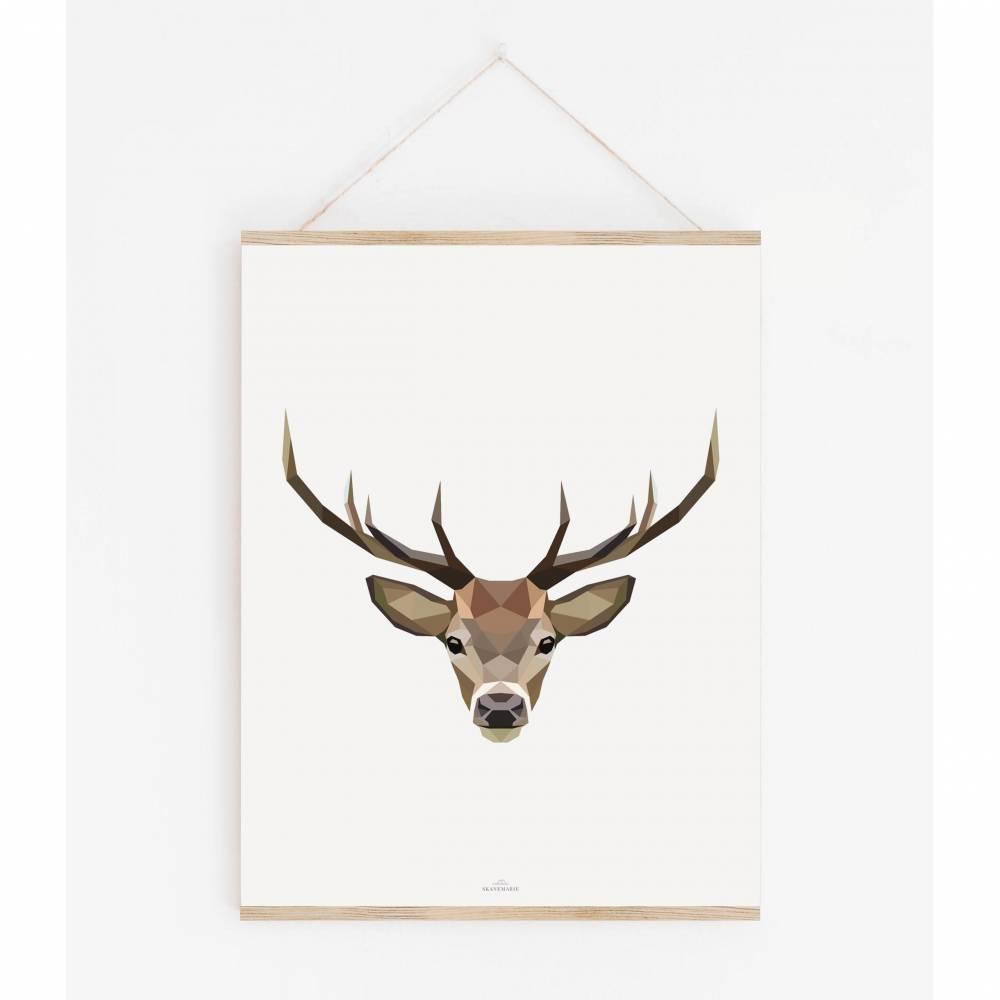 HIRSCH POLY ART Print   Poster skandinavisch    Poster Tiere    wunderschön gestaltet    Geschenk Poster    verschiedene Größen Bild 1
