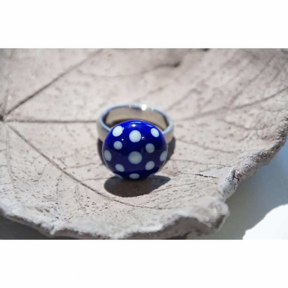 Ringtop - Glas - Lampwork - blau dots Bild 1