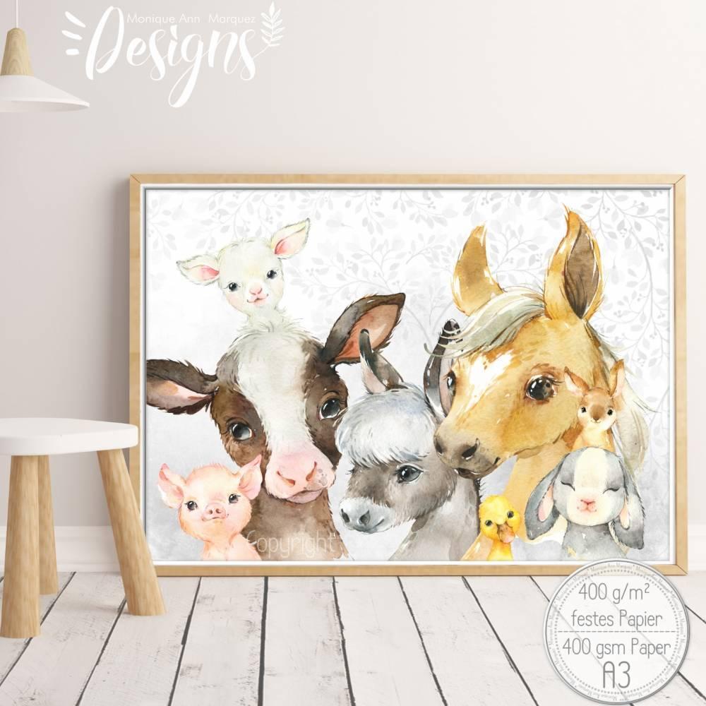 BAUERNHOF Mix ~ A3 Kinderzimmer Aquarell Poster Bild Tiere Kalb, Pferd, Esel, Ferkel Kanninchen, Ente, Lamm |SET 44/P-FARM Bild 1