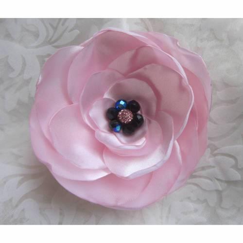 """Rosa Brosche Klammer Stoffblume Braut Anstecker Blume Haarblume """"Extravagance"""" Brautschmuck Brautmode festlich elegant romantisch Taufe"""