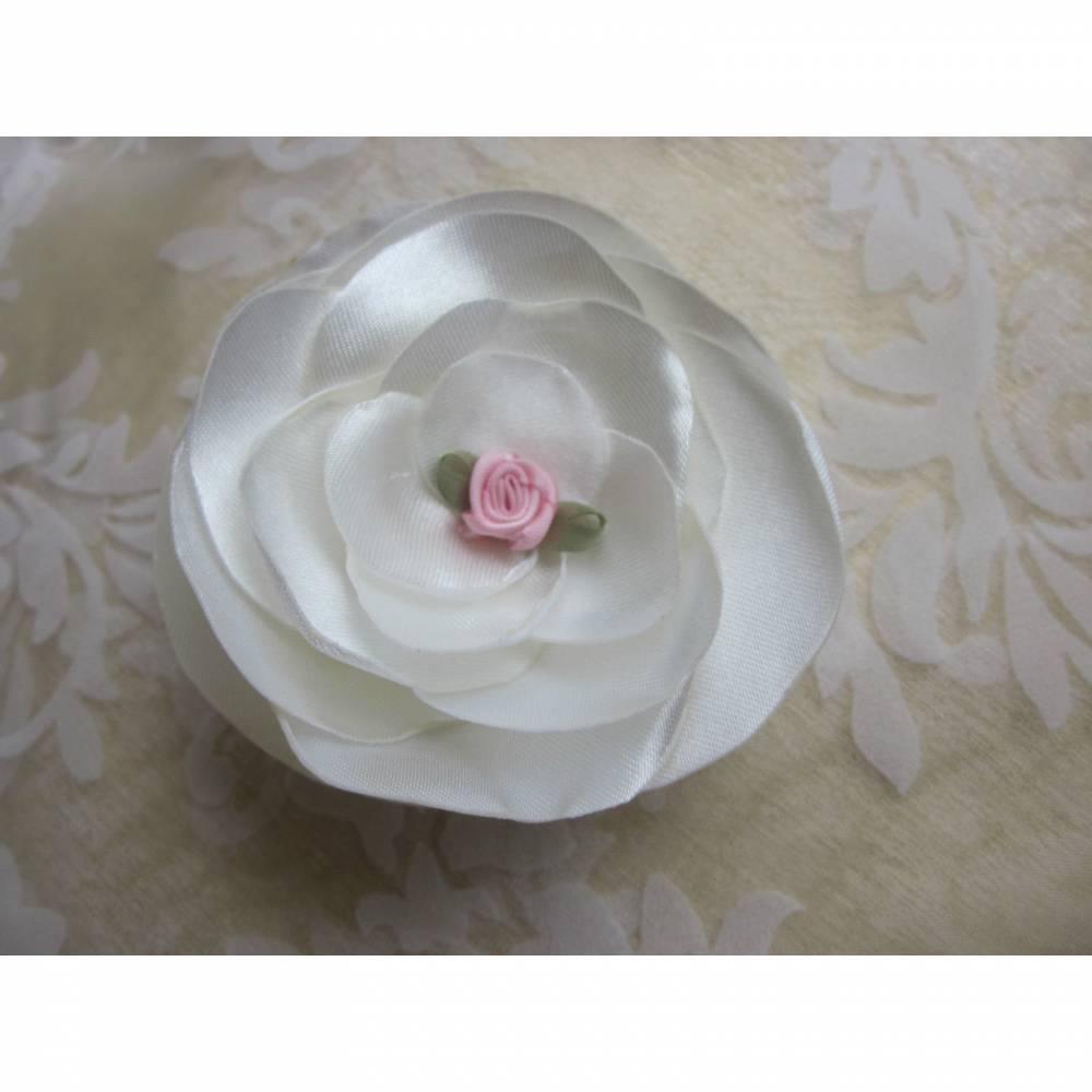 """Braut Stoffblume Brosche Klammer Weiß Rosa Hochzeit """"Giselle"""" Brautschmuck Brautmode festlich elegant romantisch Taufe Abschlussball Bild 1"""