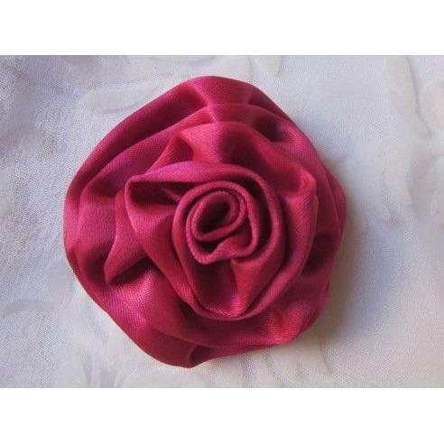 """Rote Haarklammer Haarblüte Satin Stoffblume Rot """"Carole"""" festlich Bild 1"""