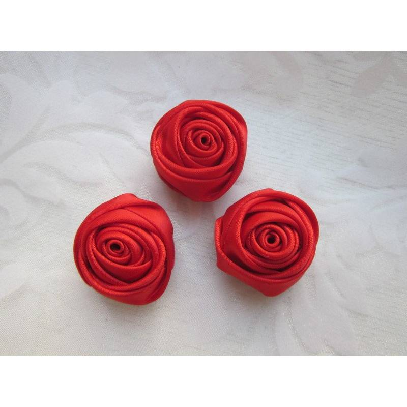 """Blumen Magnete 3er Set """"Rose-Rouge"""" Rot Rose Deko Landhausstil Stoffblumen Mitbringsel Geschenkidee  Bild 1"""