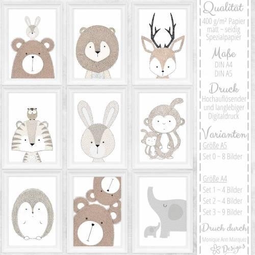 9er SET Kinderzimmer Babyzimmer Bilder Tiere Tier Bild Poster Wandbilder Wildtiere Waldtiere Skandinavischer Stil minimalistisch