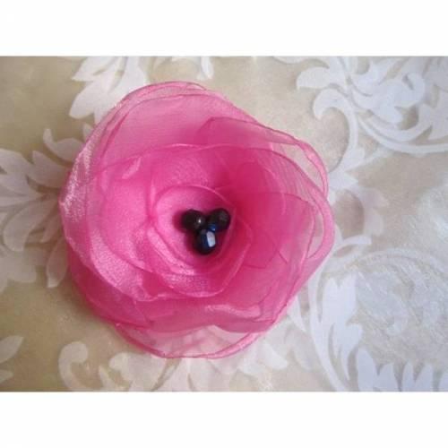 """Pink Organza Brosche Klammer Haarblume """"Antoinette"""" Brautschmuck"""