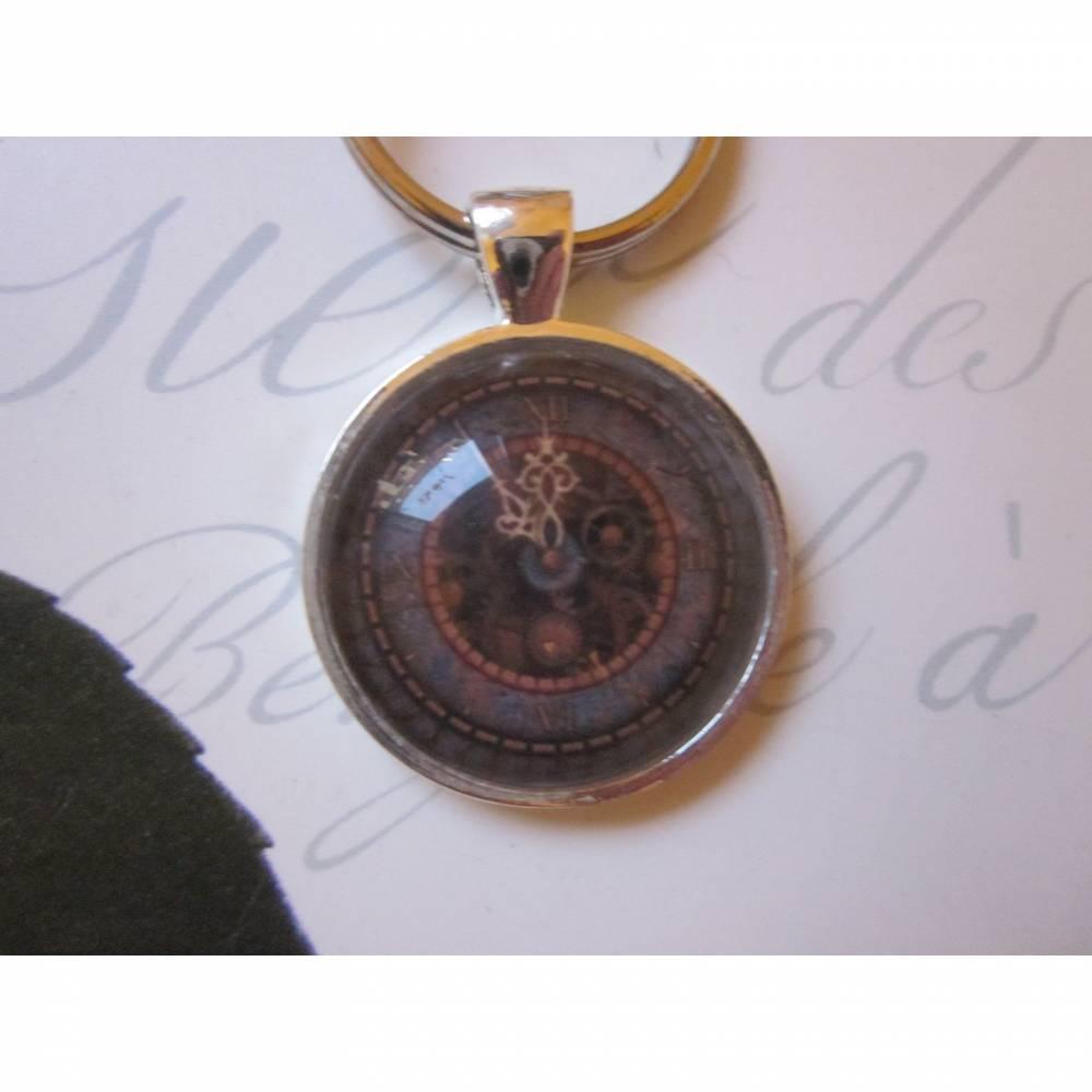 """Schlüsselanhänger Uhr Ziffernblatt Steampunk """"Horloge"""" Vintage Stil Geschenkidee  Bild 1"""