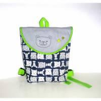 Kinderrucksack, Kindergarten Tasche Bär mit Namenskette, Handmade Bild 1