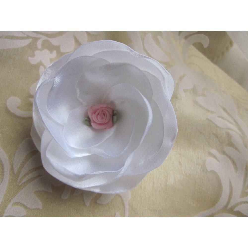 """Braut Brosche und Klammer Weiß Rosa Stoffblume """"Rosalie"""" Taufe festlich Bild 1"""
