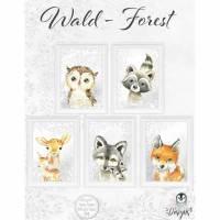 WALDTIERE ~ Kinderzimmer Bilder Set Tiere Waldtiere Wald Fuchs Waschbär Reh Eule Wolf   Set 44/Woodland Bild 1