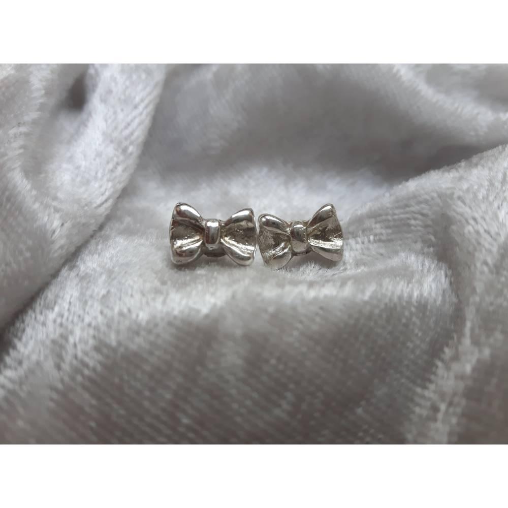 Silber-Ohrstecker kleine Schleifen aus 999 Silber Bild 1