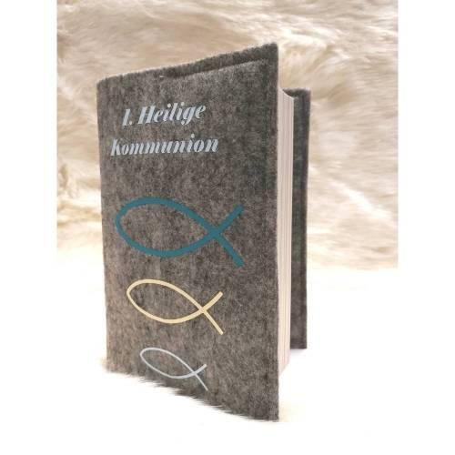 Gotteslobhülle aus Filz, Schutzumschlag für Gotteslob, Kommunion, mit Wunschname