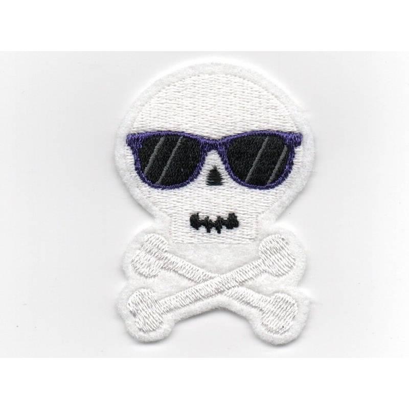 Scull - Totenkopf mit Sonnenbrille - Aufnäher Bild 1