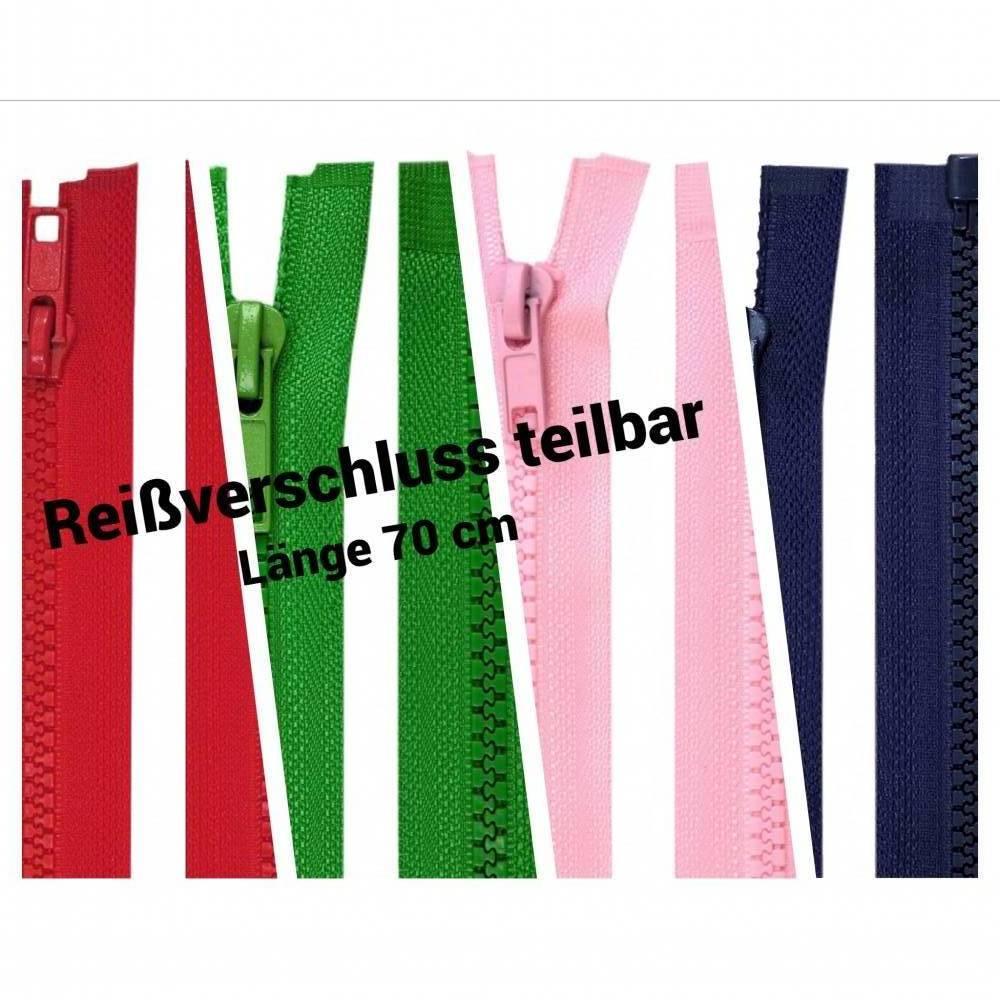 Reißverschluss teilbar, 70 cm, verschiedene Farben, rosa, rot, blau, grün Bild 1