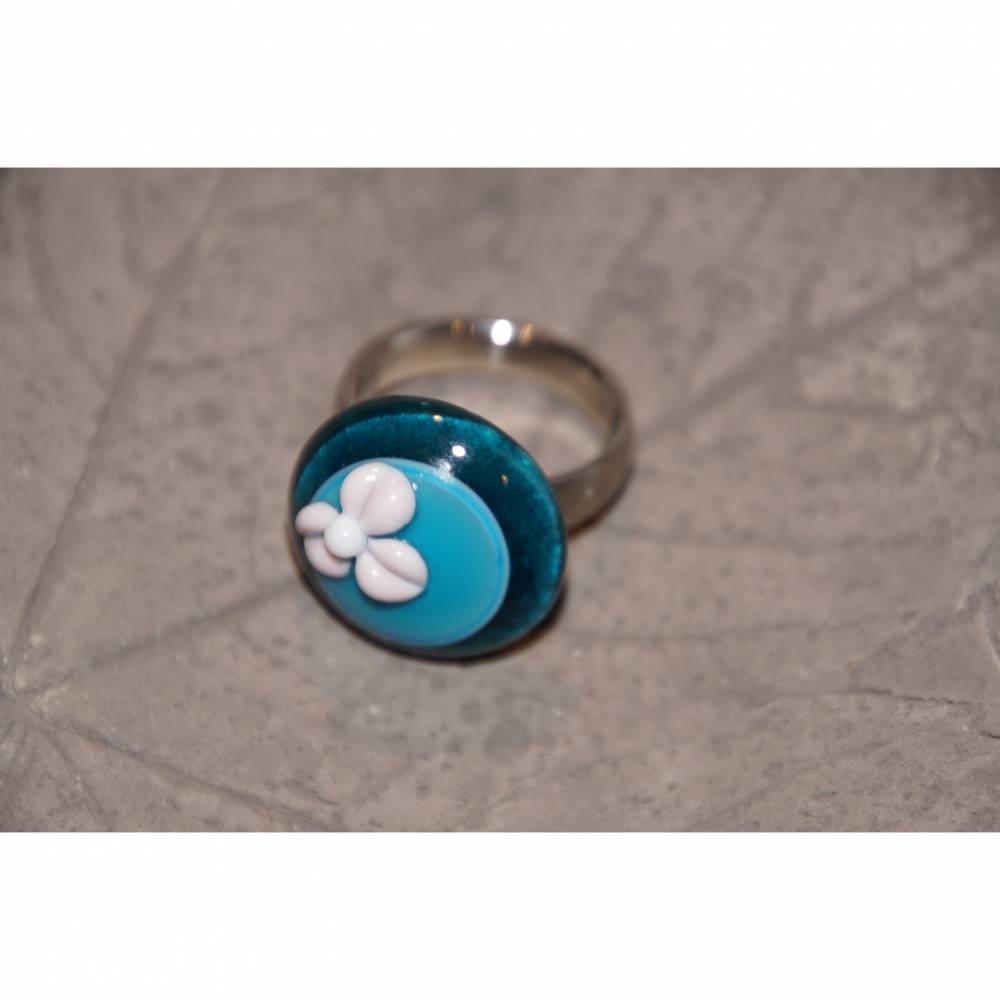 Ringtop - Glas - Lampwork - blau mit rosa Blume Bild 1