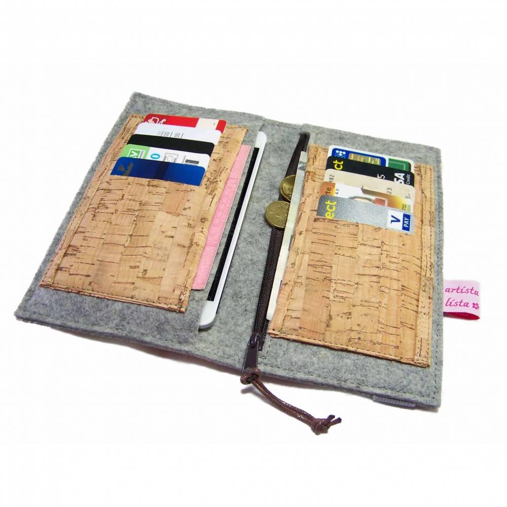 Portemonnaie mit Handyfach Brieftasche Wollfilz Filz + Kork mit 10 Kartenfächern und Reißverschlussfach, verschiedene Größen, z.B für iPhone X / Samsung Galaxy S9 Bild 1
