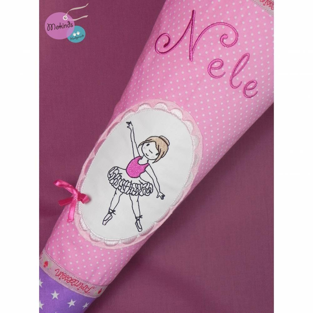 Schultüte mit Namen Ballett rosa lila Bild 1