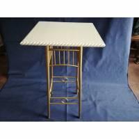 Beistelltisch Metall mit Holzplatte Bild 1
