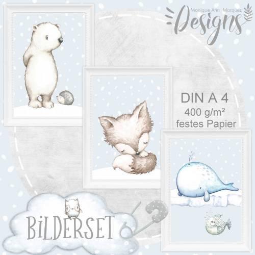 Baby Kinderzimmer Bilder Tiere Fuchs Bär Wal Igel und Kugelfisch (hellblau, grau & beige) A4 Druck |S19