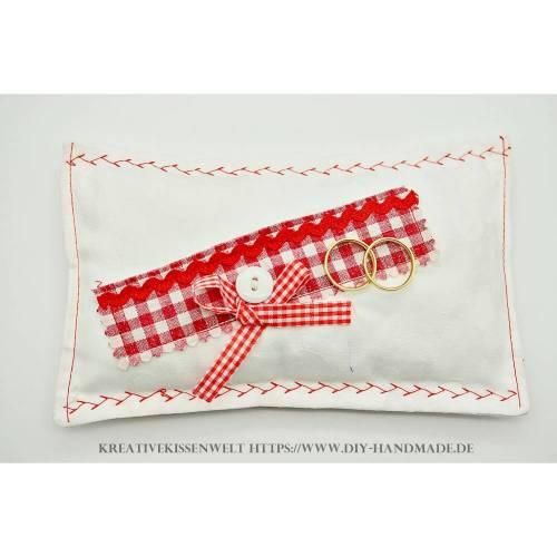 bayerisches Ringkissen weiß mit rot, Ringträgerkissen zur Hochzeit und Vermählung, 15 x 13 cm, Unikat,