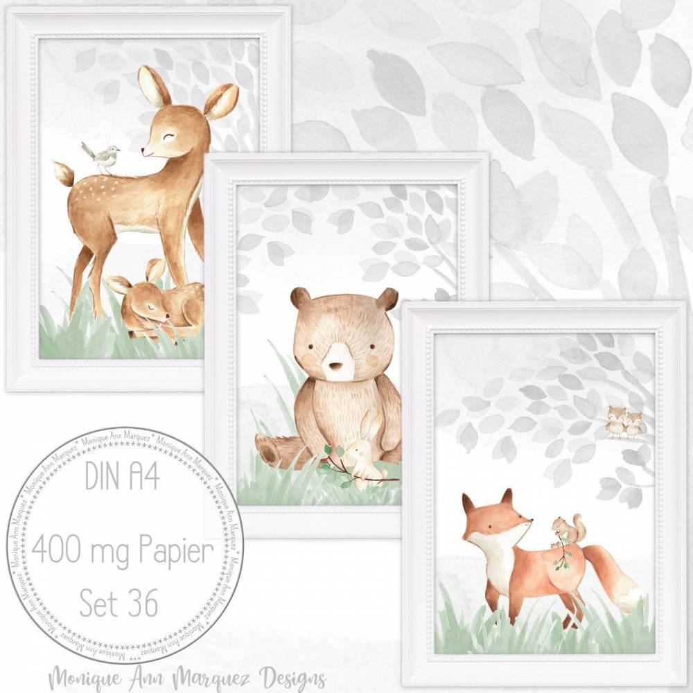 Babyzimmer Bilder Kinderzimmer Bilder Wald Tiere Fuchs, Reh, Bär Bild Kunstdruck für A4 Bilderrahmen  SET 36 Bild 1