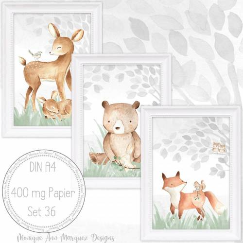Babyzimmer Bilder Kinderzimmer Bilder Wald Tiere Fuchs, Reh, Bär Bild Kunstdruck für A4 Bilderrahmen  SET 36