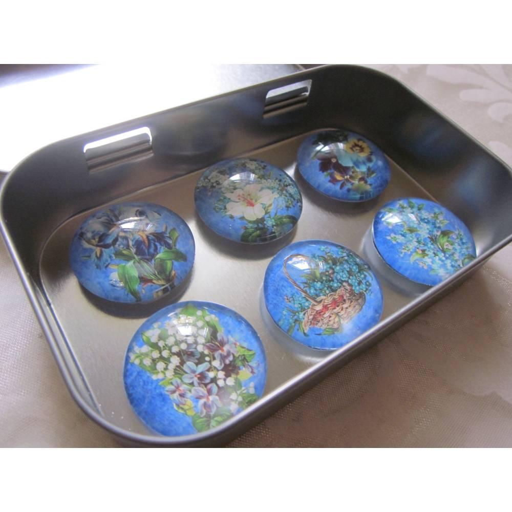 """Magnete Blumen Veilchen Lilie Blau """"Iris"""" 6er Set Geschenkidee Geburtstag Dekoration blau Bild 1"""