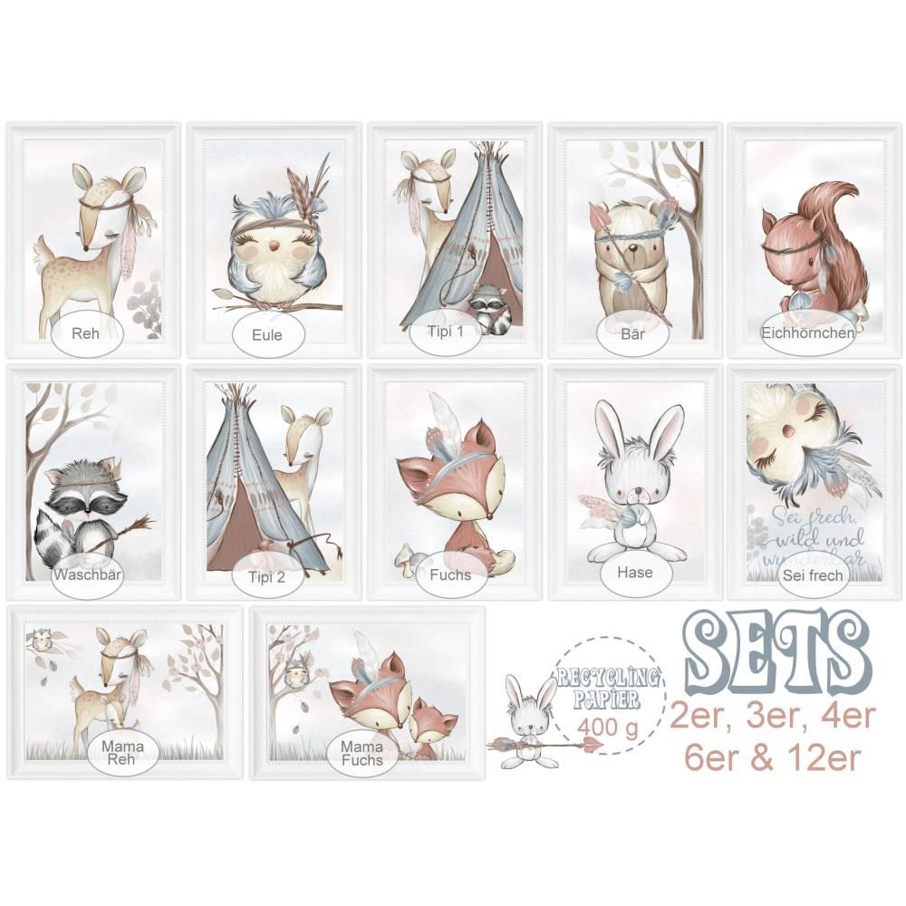 Kinderzimmerbilder Kinderzimmer Bild Babyzimmer Bilder Kunstdruck Waldtiere Reh Fox Eule Bär EINZELBILDER und  SPARPAKET  | A4 | SET 30 Bild 1