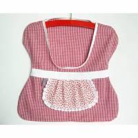Klammerbeutel, Wäscheklammer-Beutel, Bauernkaro Klammerkleidchen, Spitzenschürze, Aufbewahrung für Wäscheklammern, roter Klammersack, Klammerbeutel mit Kleiderbügel Bild 1